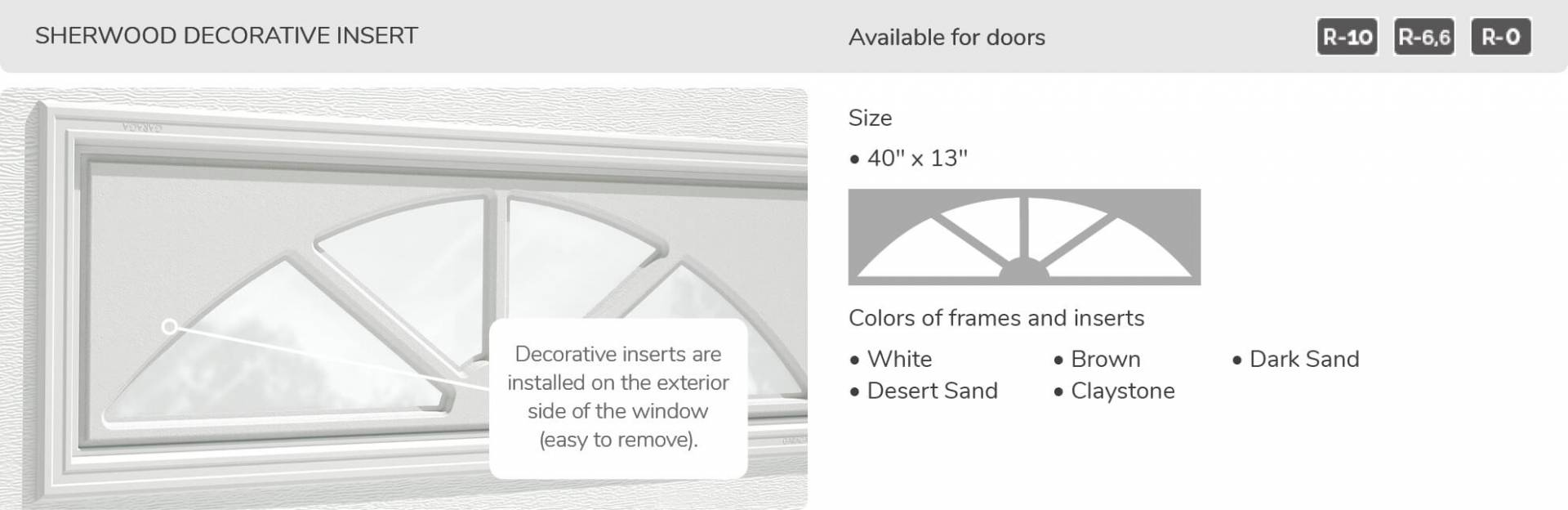 "Sherwood Decorative Insert, 40"" x 13"", available for doors R-10, R-6.6, R-0"