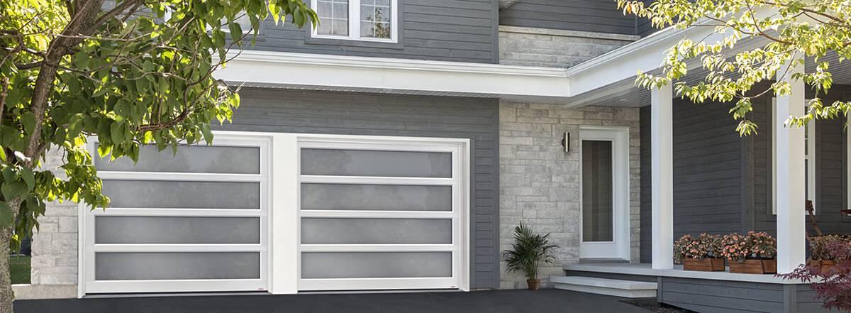 New garage door. California 9u0027 x 7u0027 White aluminum frame Satin glass & Garage doors u0026 openers by Garaga®   The industry leader in quality
