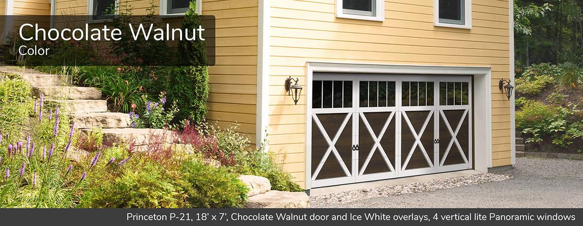 Princeton P-21, 18' x 7', Chocolate Walnut doors and Ice White overlays, 4 vertical lite Panoramic windows