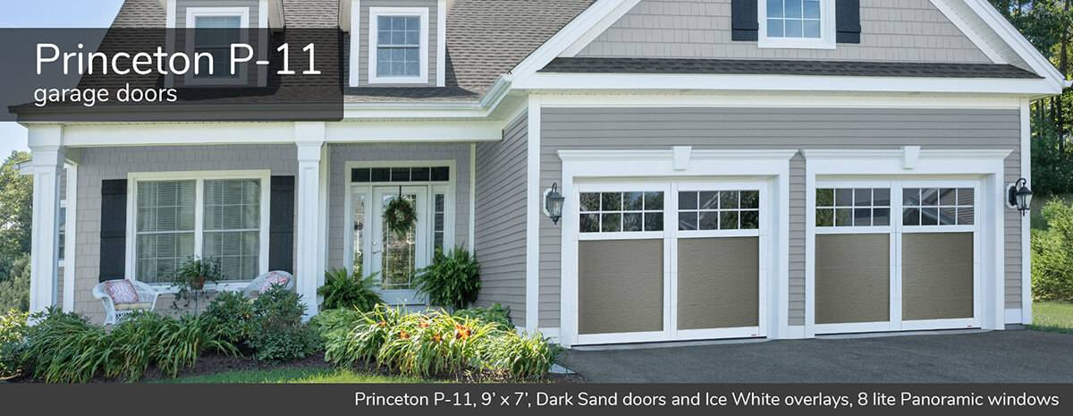 Princeton P-11, 9' x 7', Dark Sand doors and overlays, 8 lite Panoramic windows