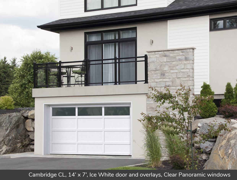 Cambridge CL 14u0027 x 7u0027 Ice White door and overlays Clear & Cambridge CL design from Garaga Garage Doors   USA