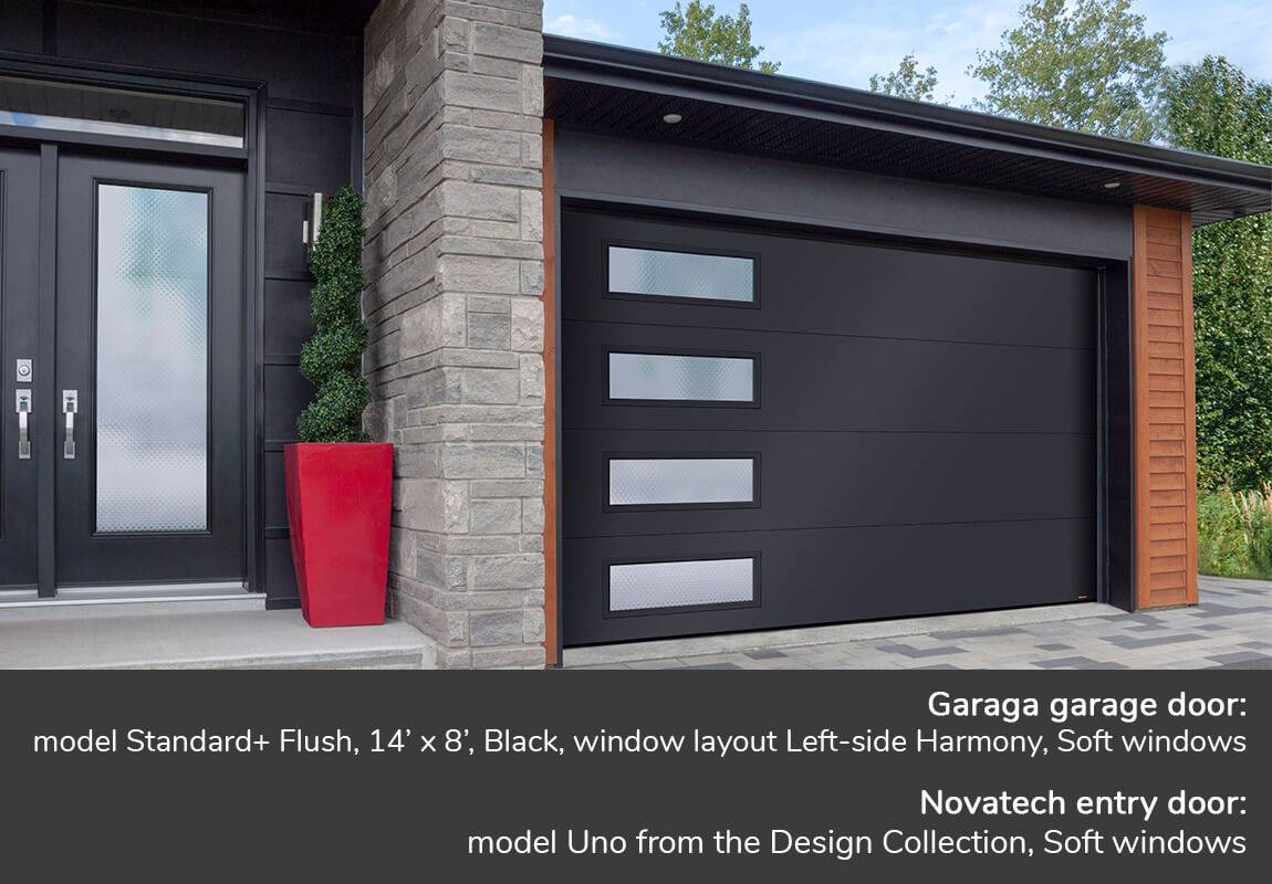 Garaga garage door: Standard+ Flush, 14' x 8', Black, window layout: Left-side Harmony, Soft glass