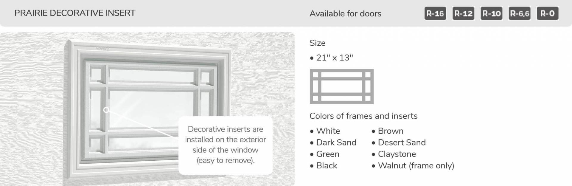 Prairie Decorative Insert, 21' x 13', available for doors R-16, R-12, R-10, R-6,6 and R-0