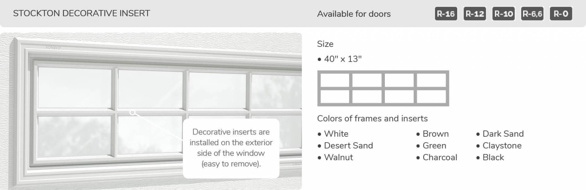 Stockton Decorative Insert, 40' x 13', available for doors: R-16, R-12, R-10, R-6.6, R-0