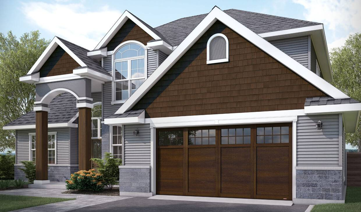 Princeton P-11, 9' x 7', Chocolate Walnut doors and overlays, 8 lite Panoramic windows