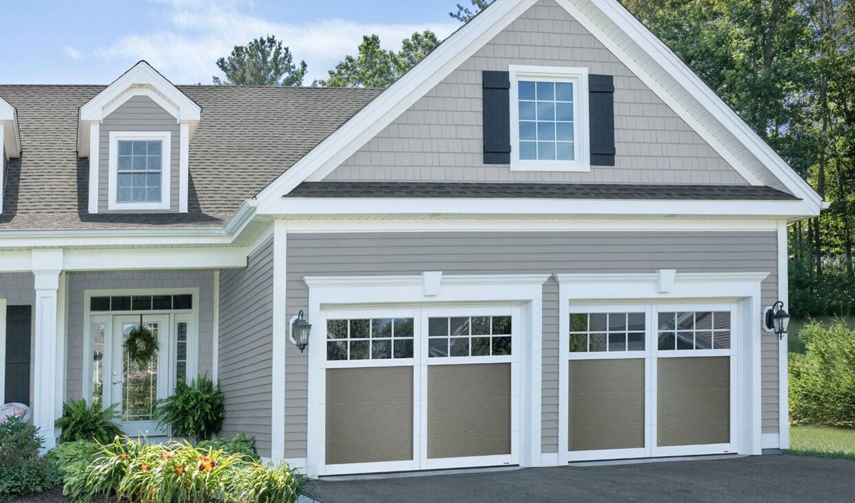 Princeton P-11, 9' x 7', Dark Sand doors and Ice White overlays, 8 lite Panoramic windows