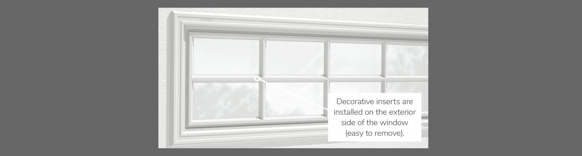 "Stockton Decorative Insert, 40"" x 13"", 21"" x 13"", 41"" x 16"" or 20"" x 13"", available for door R-16, R-12, 3 layers - Polystyrene, 2 layers - Polystyrene and Non-insulated"