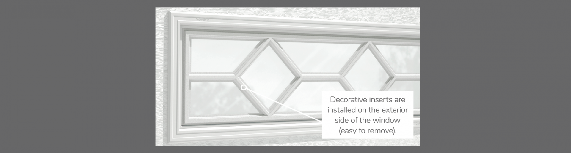 "Waterton Decorative Insert, 40"" x 13"", 21"" x 13"", 41"" x 16"" or 20"" x 13"", available for door R-16, R-12, 3 layers - Polystyrene, 2 layers - Polystyrene and Non-insulated"