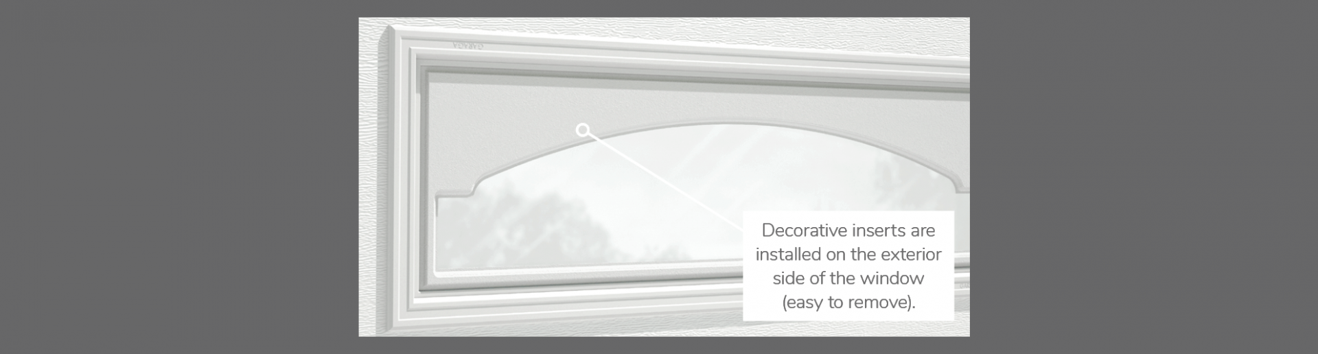 "Cathedral Decorative Insert, 40"" x 13"", available for door R-16, R-12, 2 layers polystyrene and Non-insulated"