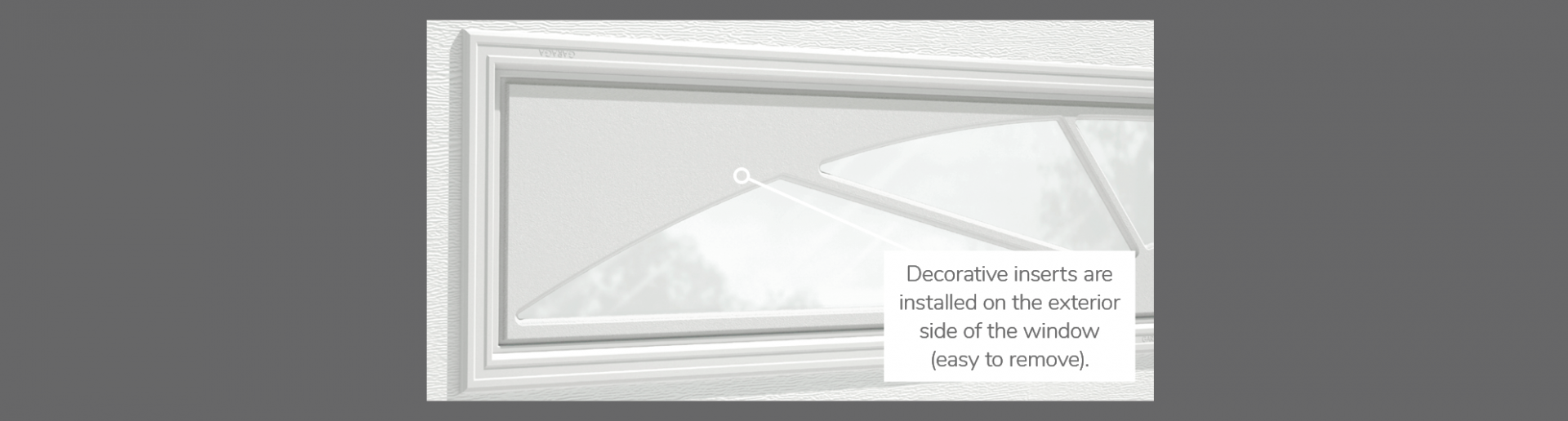 "Williamsburg Decorative Insert, 40"" x 13"", available for door R-16, R-12, 2 layers polystyrene and Non-insulated"