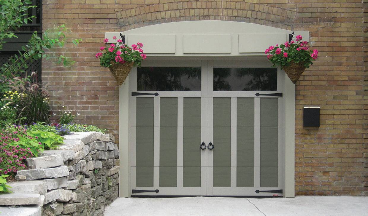 Eastman E-13, 8' x 7', Dark Sand door and Claystone overlays, Clear Panoramic windows