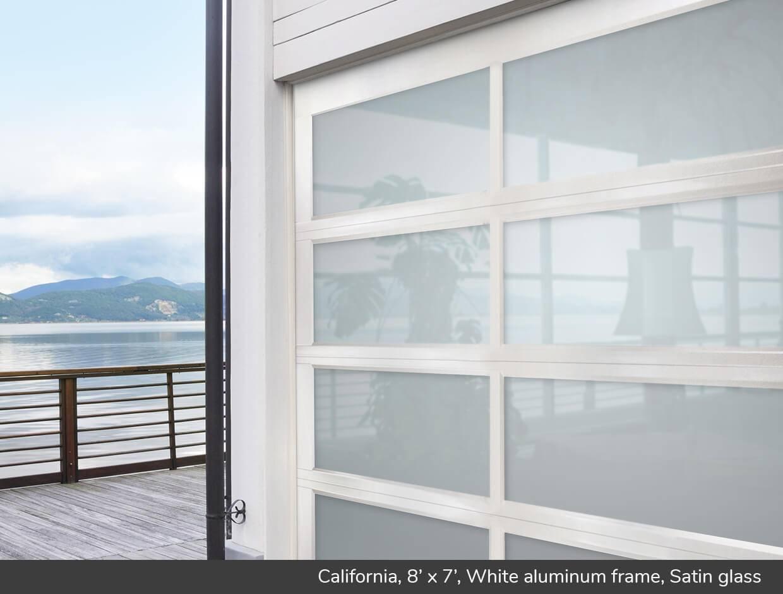 California 8\u0027 x 7\u0027 White aluminum frame Satin glass & California design from Garaga Garage Doors