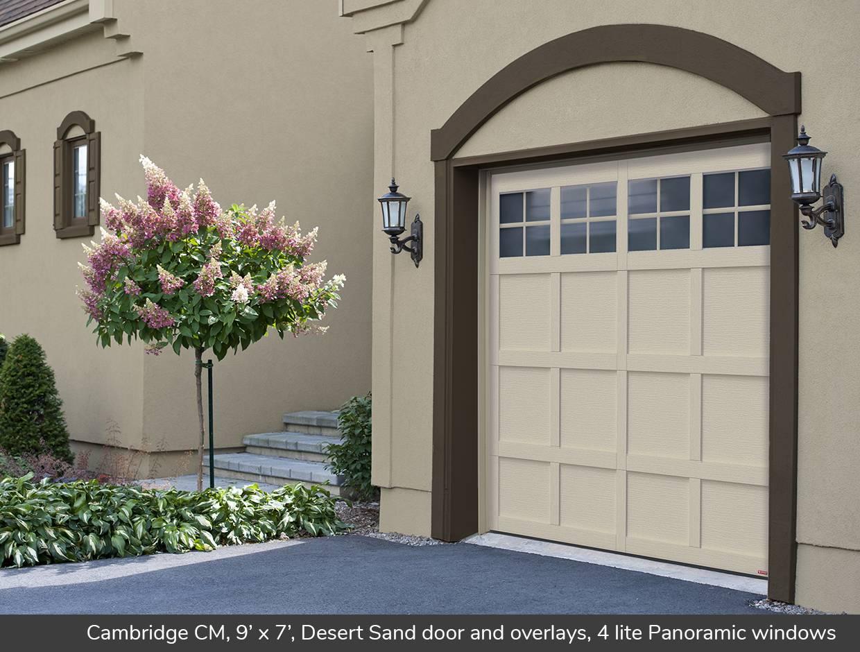 Cambridge CM 9u0027 x 7u0027 Desert Sand door and overlays 4 & Cambridge CM design from Garaga Garage Doors