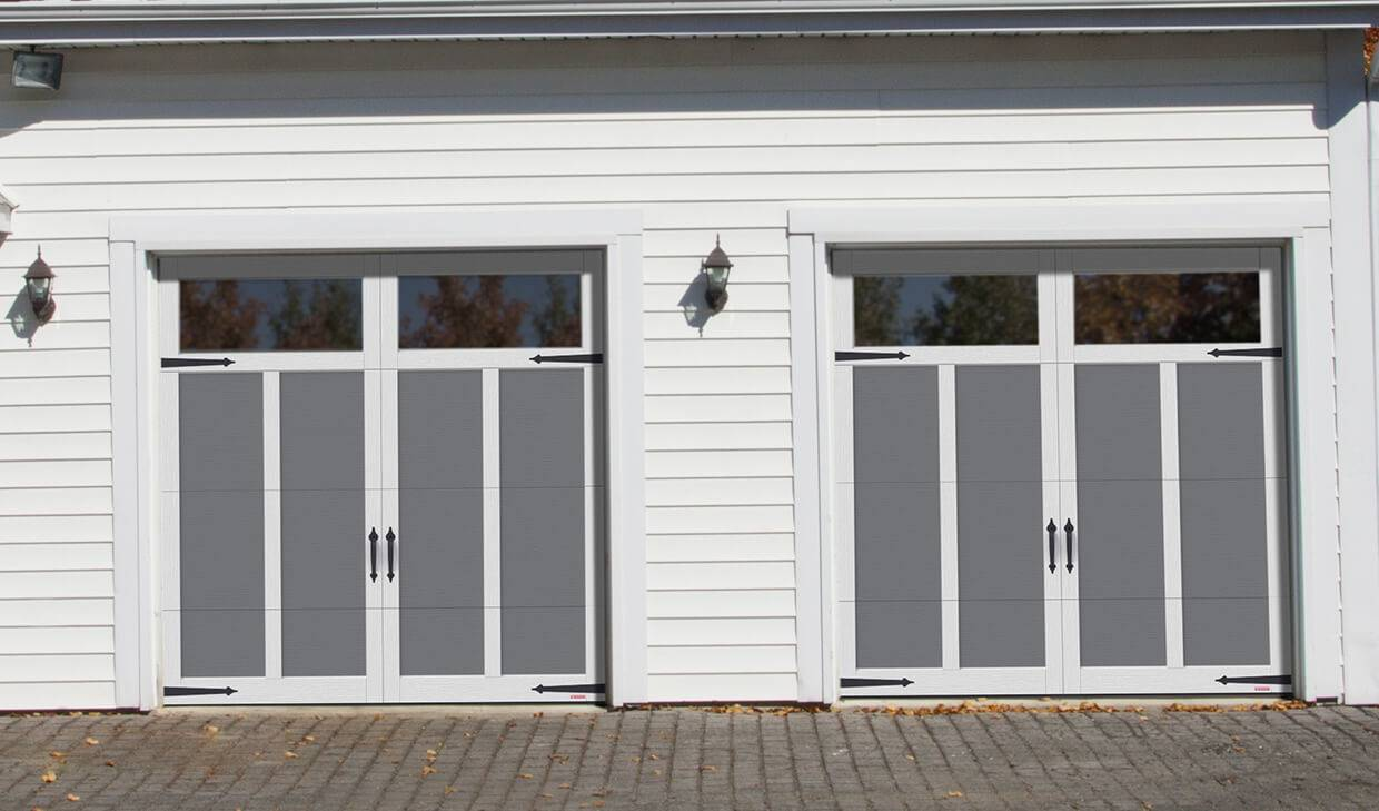 Eastman E-12, 8' x 8', Charcoal doors and Ice White overlays, Panoramic Clear windows