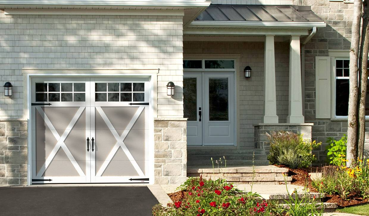 Eastman E-21, 8' x 7', Claystone door and Ice White overlays, Panoramic 8 lite windows