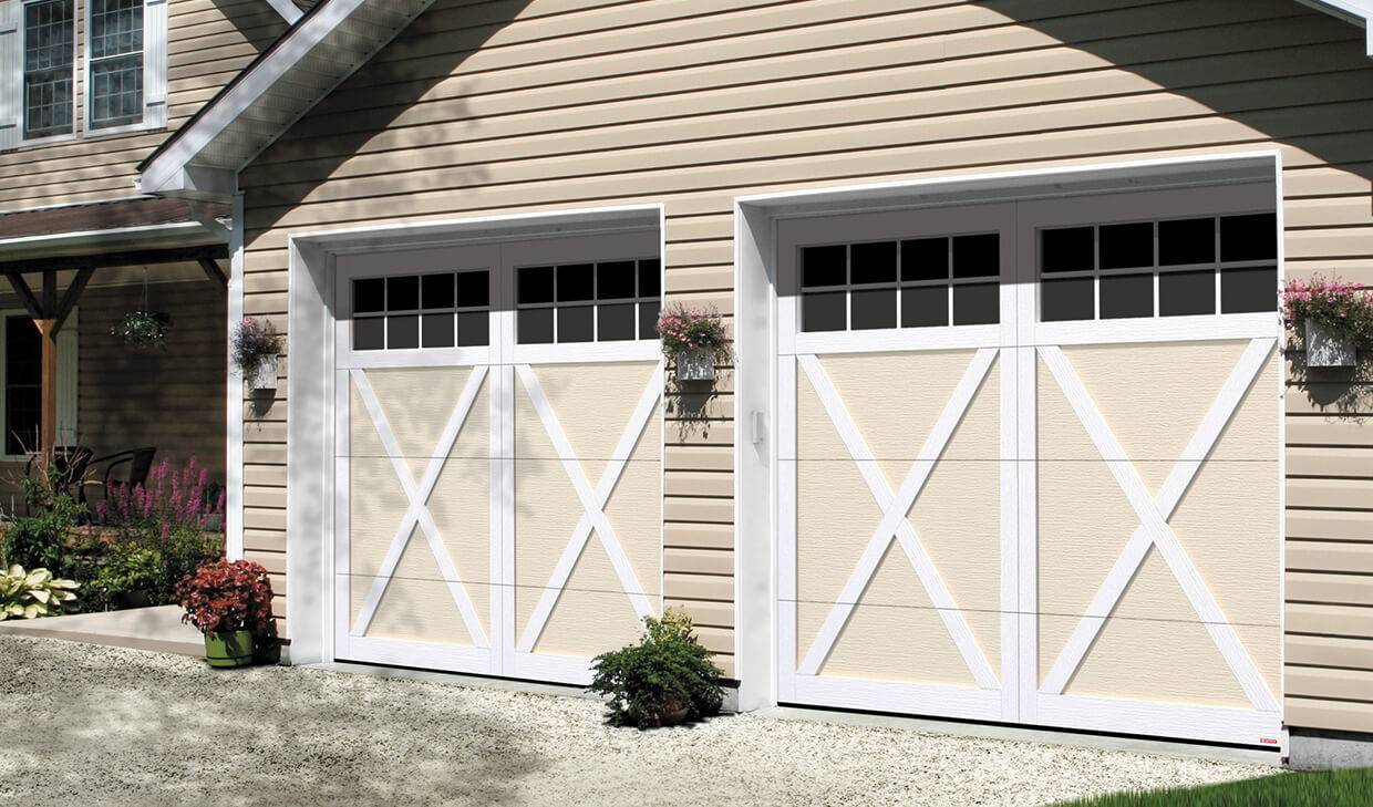 Eastman E-21, 9' x 7', Desert Sand doors and Ice White overlays, Panoramic 8 lite windows
