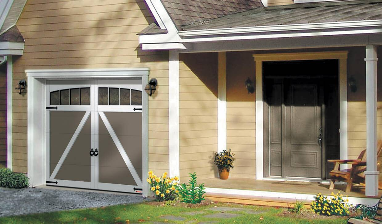 Eastman E-22, 9' x 7', Dark Sand door and Ice White overlays, Arch Overlay with Panoramic 4 vertical lites windows