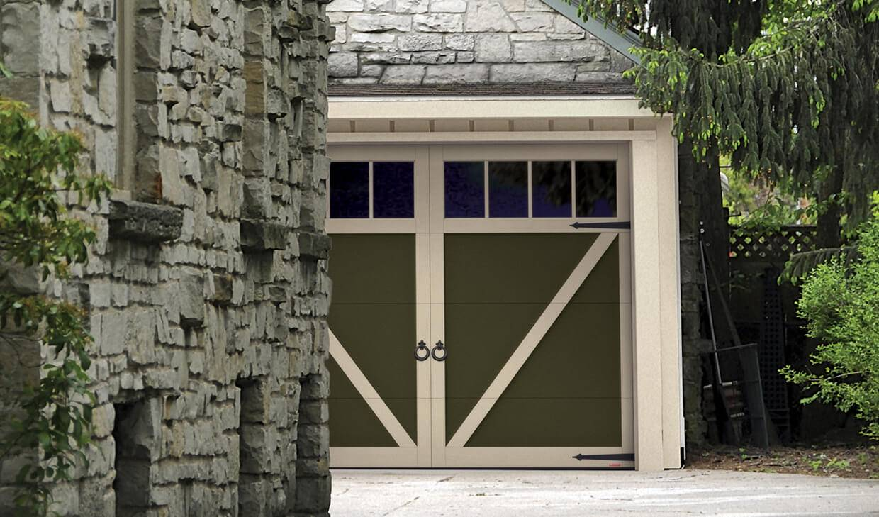 Eastman E-23, 9' x 7', Dark Sand door and Desert Sand overlays, Panoramic 4 vertical lites windows