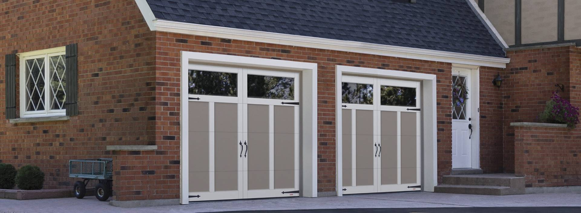 Eastman E-12, 8' x 7', Claystone doors and Ice White overlays, Panoramic Clear windows