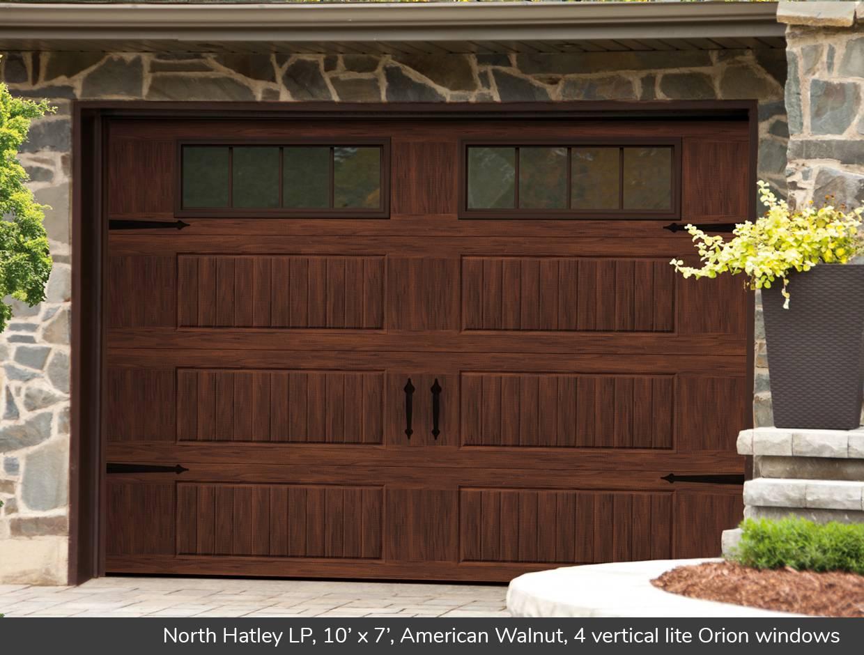 North Hatley LP 10\u0027 x 7\u0027 American Walnut 4 vertical lite & North Hatley LP design from Garaga Garage Doors