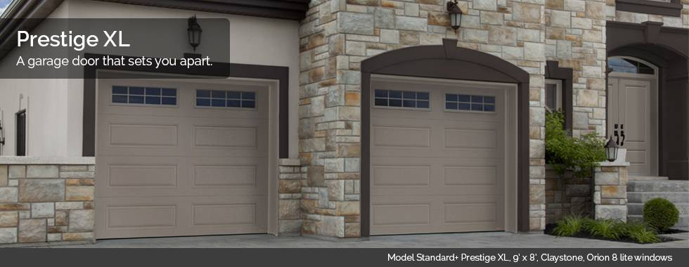 Garaga Garage Doors - Model Standard+ Prestige XL, 9' x 8', Claystone, Orion 8 lite windows