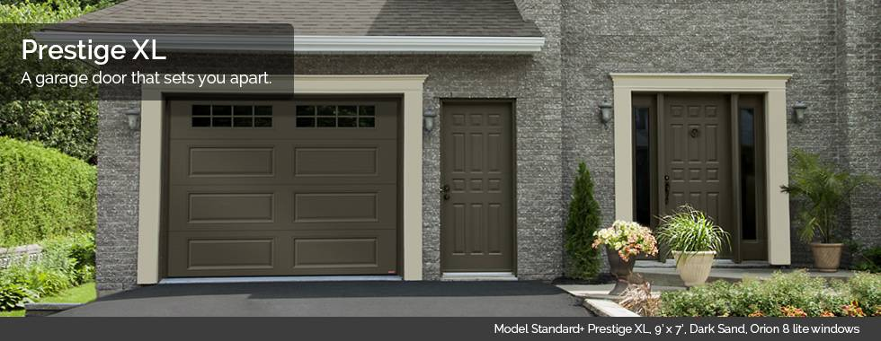 Garaga Garage Doors - Model Standard+ Prestige XL, 9' x 7', Dark Sand, Orion 8 lite windows