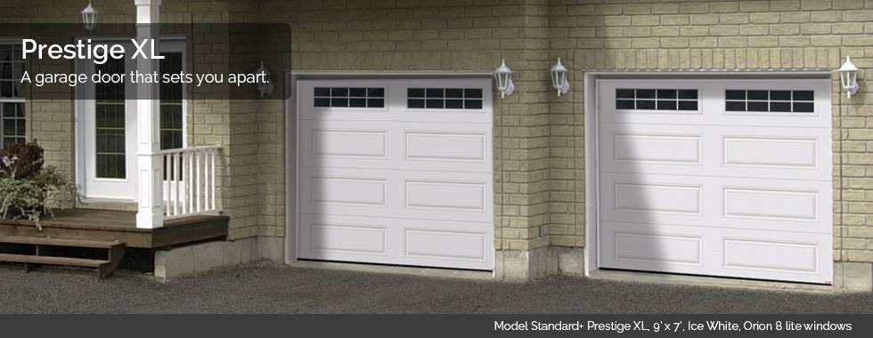 Garaga Garage Doors - Model Standard+ Prestige XL, 9' x 7', Ice White, Orion 8 lite windows