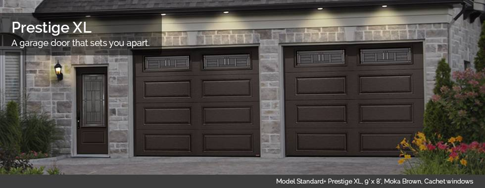 Garaga Garage Doors - Model Standard+ Prestige XL, 9' x 8', Moka Brown, Cachet windows