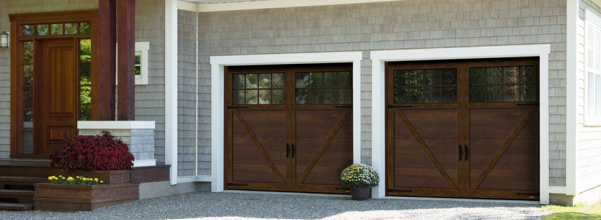 Princeton P-23, 8' x 7', Chocolate Walnut door and overlays, 8 lite Panoramic windows