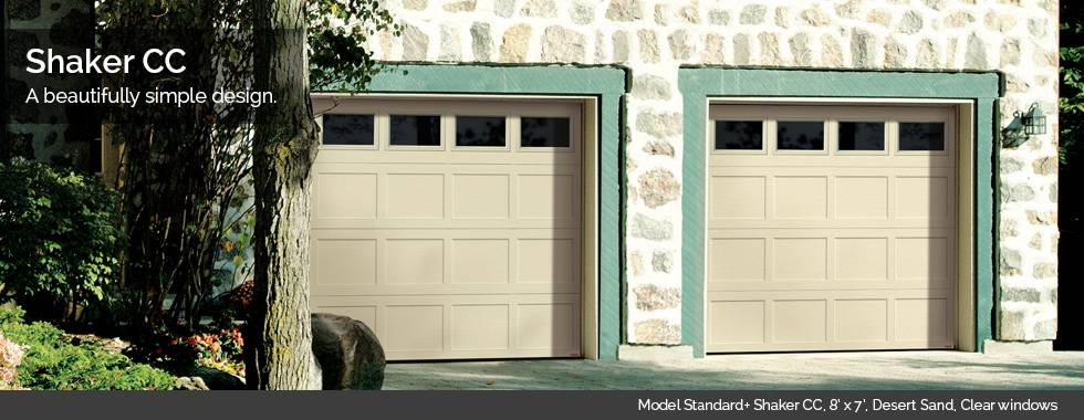 Garaga Garage Doors – Model Standard+ Shaker CC, 8' x 7', Desert Sand, Clear windows