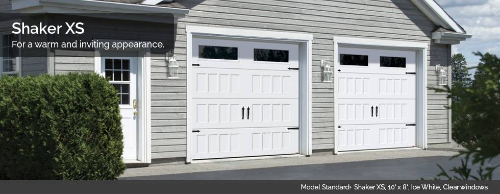 Garaga Garage Doors - Model Standard+ Shaker XS, 10' x 8', Ice White, Clear windows