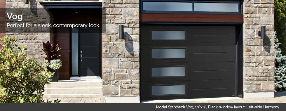 Garaga Garage Doors – Model Standard+ Vog, 10' x 7', Black, window layout: Left-side Harmony
