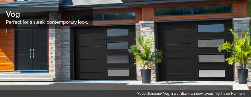 Garaga Garage Doors – Model Standard+ Vog, 9' x 7', Black, window layout: Right-side Harmony