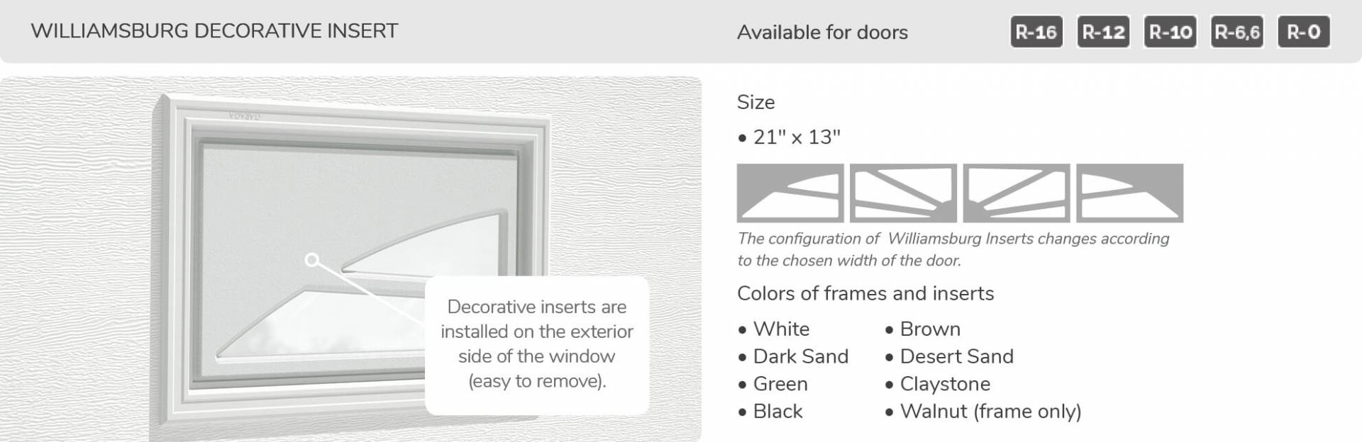 Williamsburg Decoratice Inserts, 21' x 13', available for doors R-16, R-12, R-10, R-6,6 and R-0
